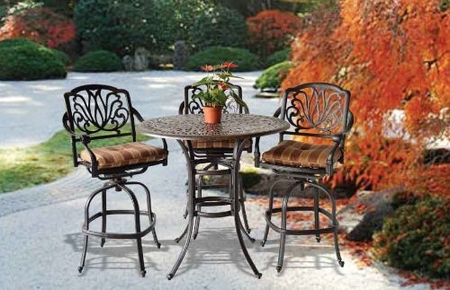 Elizabeth Cast Aluminum Powder Coated 5pc Bar Table Set - Antique Bronze