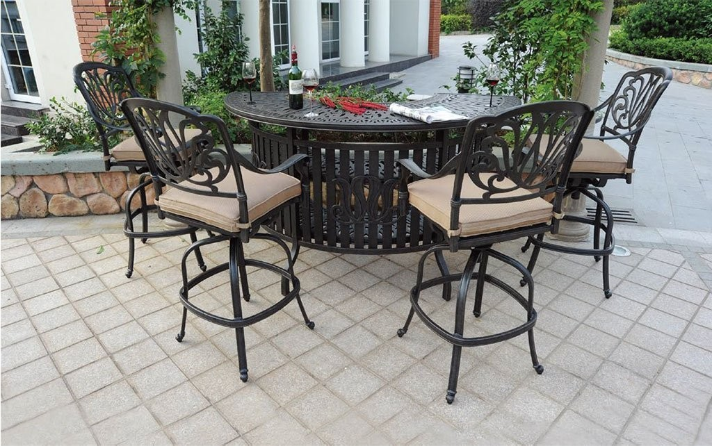 Elizabeth Cast Aluminum Powder Coated 5pc Party Bar Set with Party Bar Table - Antique Bronze