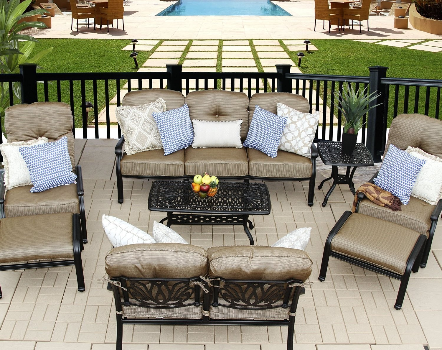 ELIZABETH CAST ALUMINUM POWDER COATED 8PC DEEP SEATING SET WITH ADJUSTABLE CLUB CHAIRS - ANTIQUE BRONZE