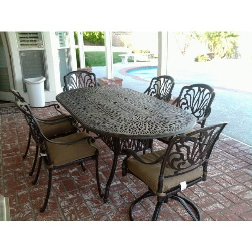 Elizabeth Cast Aluminum Powder Coated 7pc Outdoor Patio