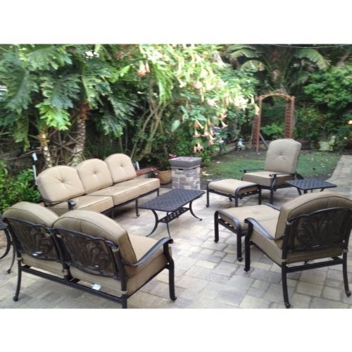 Elizabeth Cast Aluminum Powder Coated 9pc Outdoor Patio Sofa Deep Seating Chat Set - Antique Bronze