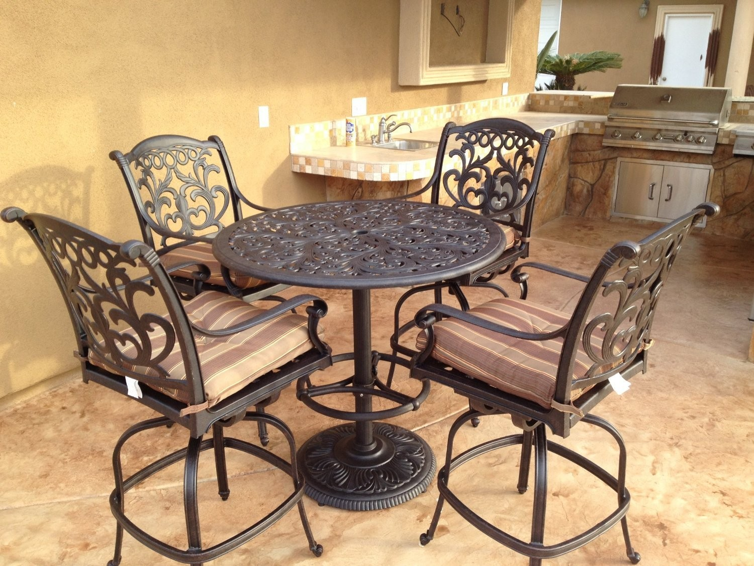 "Mandalay Cast Aluminum Powder Coated 5pc Outdoor Patio Bar Set with 42"" Round Bar Table - Antique Bronze"