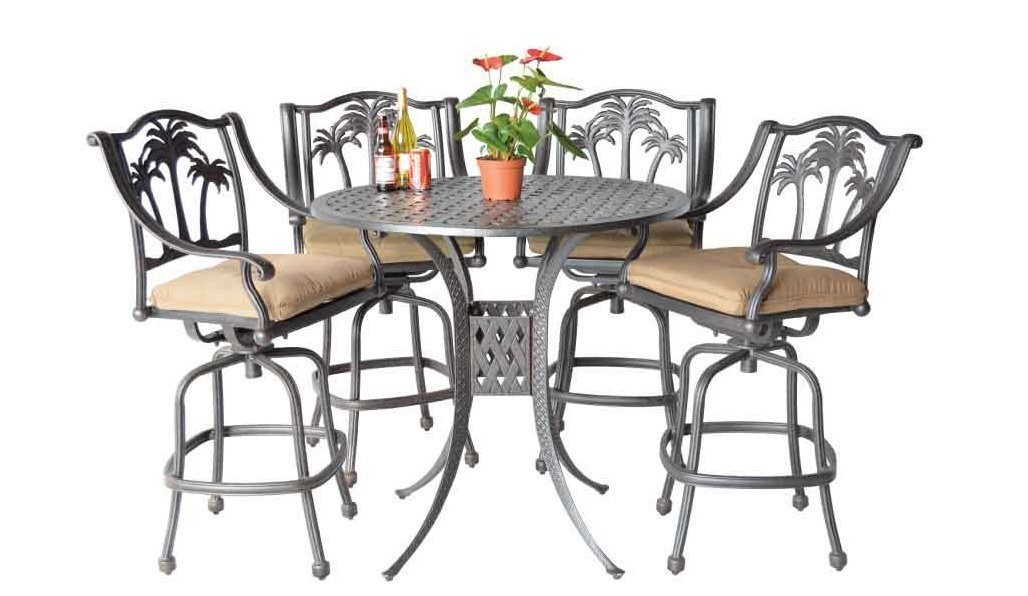 "Palm Tree Cast Aluminum Powder Coated 5pc Bar Set with 48"" Round Table - Antique Bronze"